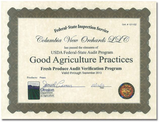 USDA Federal State Audit Certificate for Columbia View Orchards